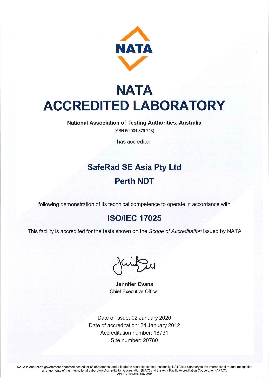 saferad perth NATA Certificate
